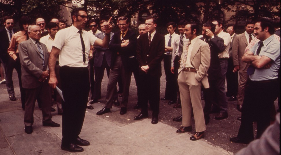 Preacher Draws Lunchtime Crowd in Lower Manhattan's Battery Park 05/1973