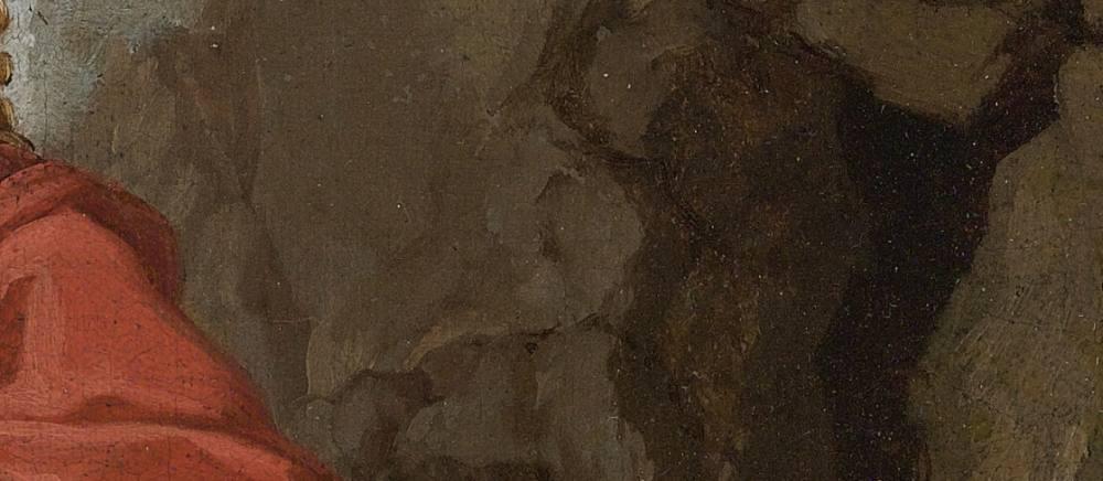 Ölgemälde. Ein stark vergrößerter Ausschnitt ist zu sehen, auf dem der Eingang einer Höhle zu erkennen ist.