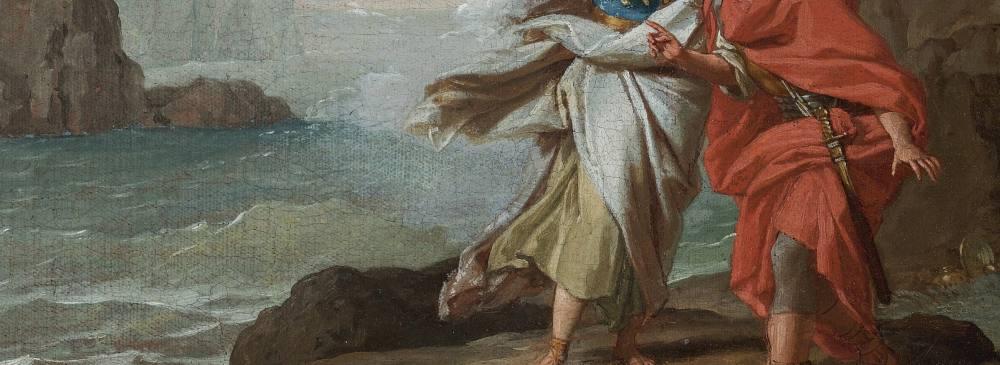 Ölgemälde. Abgeschnitten, ohne Kopf, sind zwei Figuren in antiker Kleidung zu erkennen. Sie stehen vor einer Küste, das Meer ist bewegt.