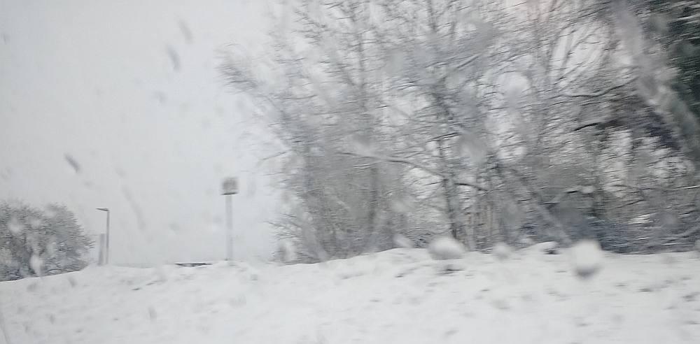 eine verschneite Landschaft, im Hintergrund bäumte. Das Bild ist unscharf, da aus dem Zug heraus fotografiert.