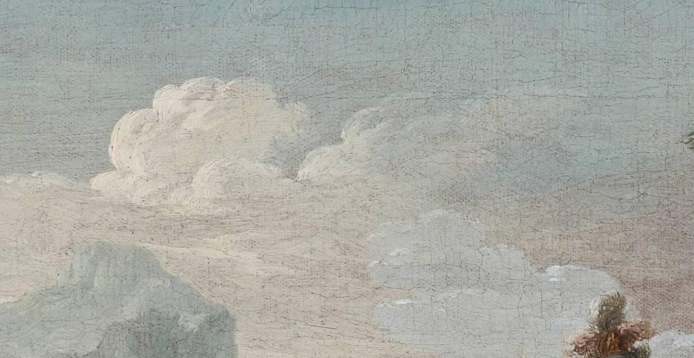 Ausschnitt aus einem Gemälde. Es sind vor allem Wolken und am unteren Bildrand Berge sowie ein Federschmuck eines Helmes zu erkennen.