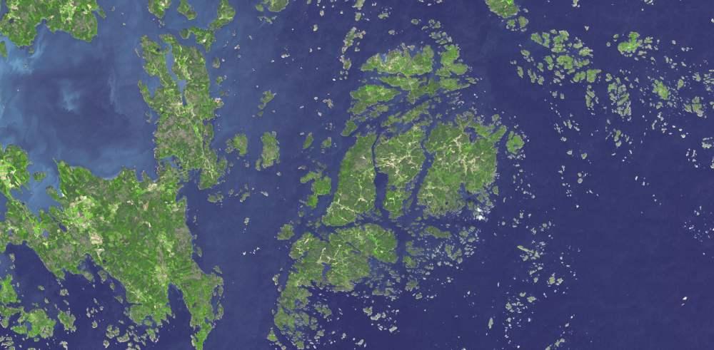 Satellitenaufnahme des Aaland-Archipels, Finnland.