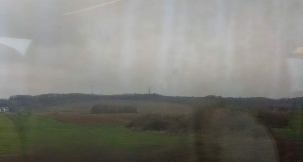 Eine Landschaft aus dem Zug heraus fotografiert. Grüne Wiesen, baune Wälder, sehr grauer Himmel, sehr triste Stimmung.
