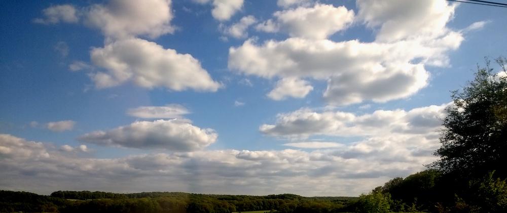 Ein Wolkenfeld über einem Wald