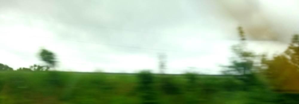 EIn grüner Hügel, ein grauer Himmel, alles verschwommen und verwischt.